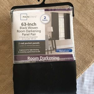 Set of black curtains 63in. Still in package
